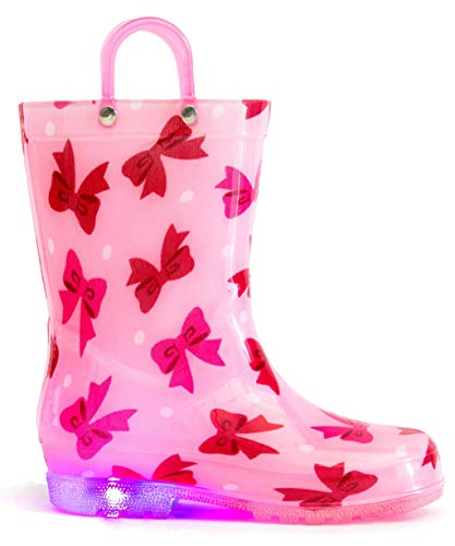 (MOFEVER Girls Toddler Kids Boys Rain Boots Light Up Waterproof Shoes Pink Bowknot Print Lightweight Cute Lovely Funny with Easy-on Handles (Size 5,Pink))