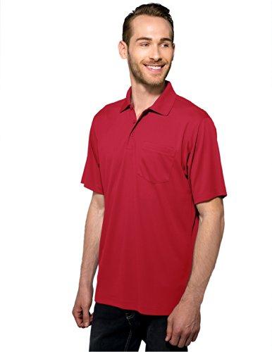 Tri Mountain Mens 5 Oz Moisture Wicking Polyester Shirt W Pocket Red Large
