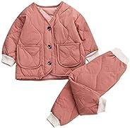 2PCS Newborn Baby Boys Girls Warm Snowsuit Coat Toddler Light Puffer Thick Jacket+Pants Outfits Pajamas Set