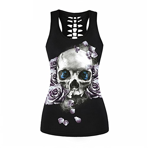 Awesoh Ladies Fashion 3D Printed Pink Rose Skull Sexy Hollow Out Black Tank Tops as Picture Show L