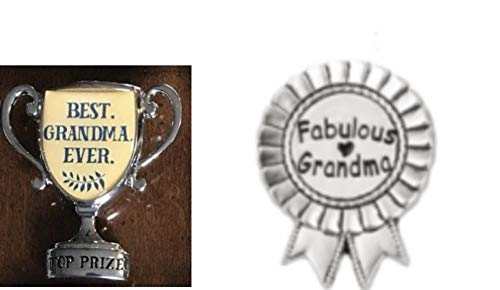 DG Shopping Spree Best Grandma Ever Mini Desk Trophy and Fabulous Grandma Lap Pin Set (2 Pieces)