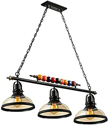 Towero 3 luces de isla Colgante de luz Mesa de billar Lámpara colgante de luz con pantalla de vidrio transparente Especial Bola de billar Decoración Araña para sala de juegos Sala de