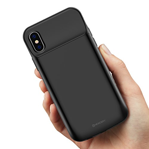iPhone X Battery Case 6000mAh,Newdery Slim Rechargeable Portable Extended Charger Case, Protective Backup Charging Case Magnetic Mental iPhone 10 - Support Lightning Headphones(Black) by NEWDERY (Image #1)