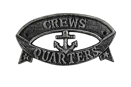 Hampton Nautical Cast Iron Crews Quarters Sign Metal Wall Plaque, 9″, Antique Silver For Sale