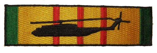 United States Marine Corps and Air Force CH-53 Sikorsky Sea Stallion or Jolly Green Giant Helocopter Silhouette on Vietnam Service Ribbon Military Patch - Veteran Owned Business