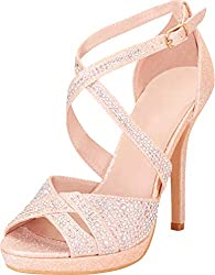 Stiletto Heel Peep Toe With Straps & Crystal Rhinestone