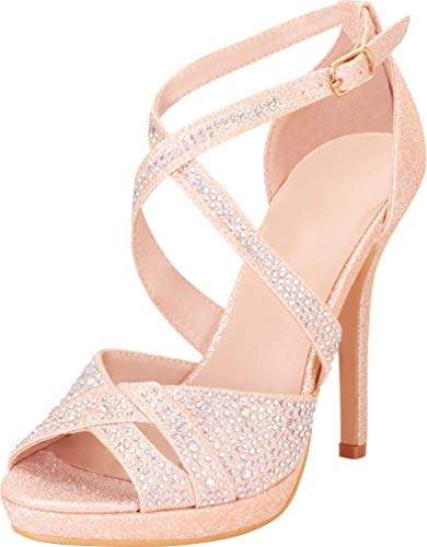 (Cambridge Select Women's Peep Toe Crisscross Strappy Crystal Rhinestone Platform Stiletto High Heel Sandal,8 B(M) US,Champagne Glitter)