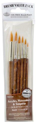 Royal & Langnickel Royal Zip N' Close Gold Taklon Round 6-Piece Brush Set