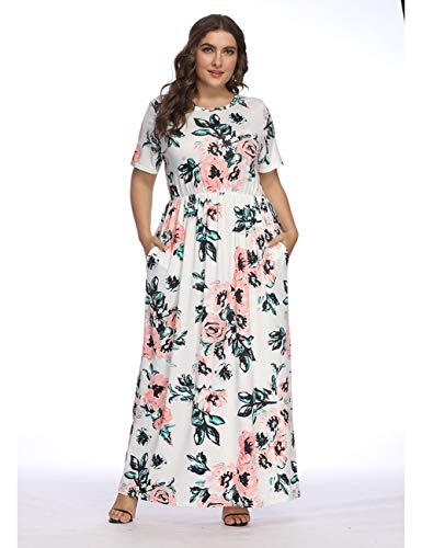 FeelinGirl Mujer Vestido Estampado Largo Falda Cintura Alta Verano Blanco-grande