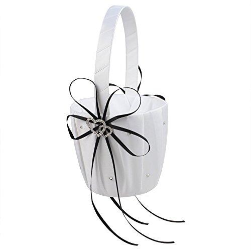 Romantic Wedding Ceremony Party Baskets, Double Heart Rhinestone Decor Wedding Girls Flower Basket Sweet Candy Flower Holder for Elegant Wedding Birthday Party Baby Shower Wedding Decoration Supplies