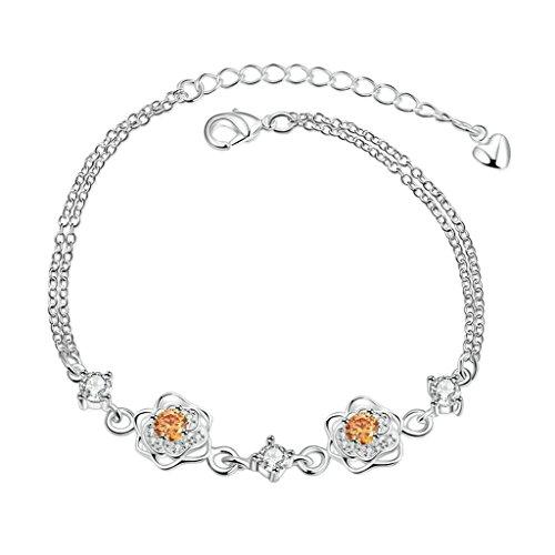 Daesar Silver Plated Bracelets Womens Bracelet Silver Charm Bracelets Plant Bangle Length:18+5CM