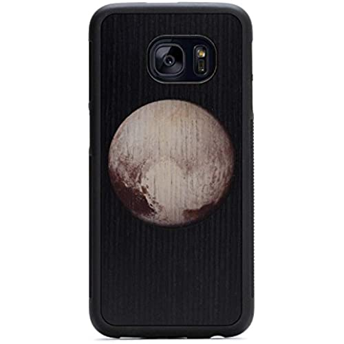 Carved Pluto Print - Samsung Galaxy S7 edge Traveler Wood Case - Black Protective Bumper with Real All Wooden Sales
