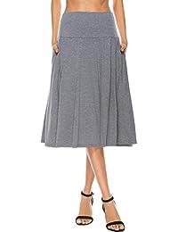 Women's Pocket Basic Solid Stretch Fold-Over Flare Midi Skirt