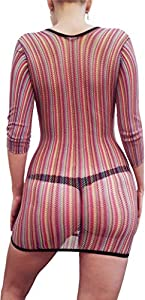 Valea Womens Lingerie Hot and Sexy Rainbow Fishnet Chemise Stunning Stretch Babydoll