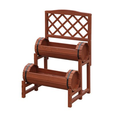1.6 ft. x 1.4 ft. Raised Garden Planter with Trellis (Double Barrel Planter) Constructed from Chinese Fir Wood w/ a Red Cedar Finish 31.5'' H x 19.62'' W x 16.5'' D ()