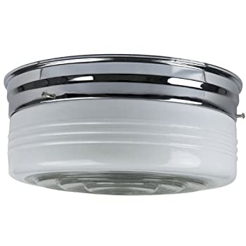 Sunlite KIT10CHGU24/2-18/ES 10-Inch Energy Saving Drum Ceiling Fixture, Chrome Finish Semi Frosted Drum