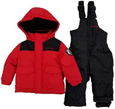 a17adc0ec Infant Boys 2-Piece Red & Black Heayweight Coat & Snow Bibs Snowsuit Set