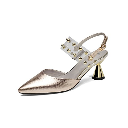 Gold Shoes Silver Walking Heel New Transparencies Rivets Leather Summer Comfort Women's Gold Outdoor Shoes 2018 Fashion Sandals for Wedge Slippers HdAUzOwq