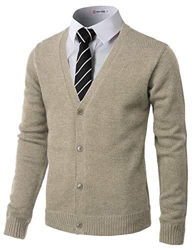 H2H Mens Fashion Basic Button Front Marble Color Cardigan Beige US L/Asia XL ()