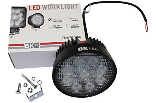 6KLED 327S Universal LED Spot light 27w Round 12v ATV RV trucking led lighting 30degree spot beam OffRoad 4x4 driving Light