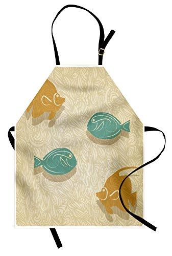 Vintage Bib Tank (Ambesonne Fish and Wave Apron, Aquarium Marine Ocean Themed Fishing Theme Vintage Stylized, Unisex Kitchen Bib Apron with Adjustable Neck for Cooking Baking Gardening, Orange Sand Brown Seafoam)