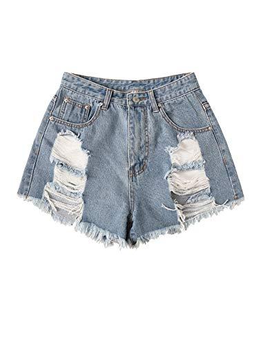 - MAKEMECHIC Women's Frayed Raw Hem High Waist Distressed Ripped Denim Shorts Blue #2 Medium