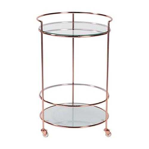 Euro Style 21000BC Roberta-HR Rolling Cart, Frosted Glass/Brushed Copper