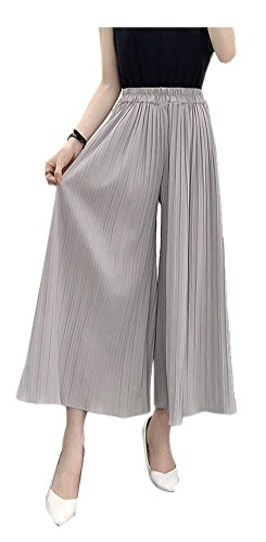 ARJOSA Women's Pleated Palazzo Pants 3/4 Wide Leg Straight Cropped Trousers (M, Grey) by ARJOSA