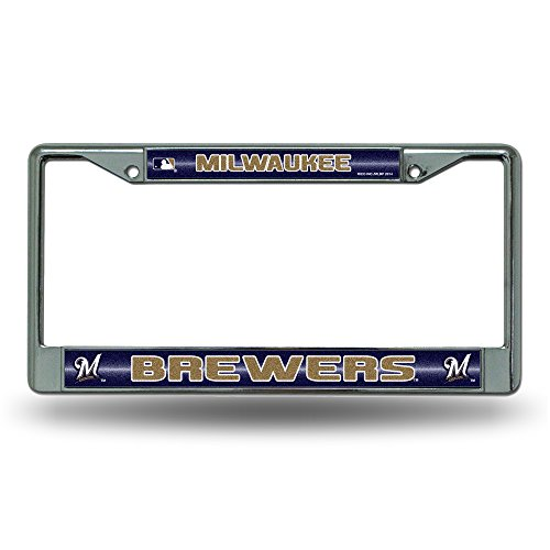 Rico MLB Milwaukee Brewers Bling License Plate Frame, Chrome, 12 x 6-Inch