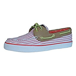 Sperry Top-Sider Women\'s Bahama 2-Eye Hot Coral Seersucker/Sand Boat Shoe 5.5 M (B)