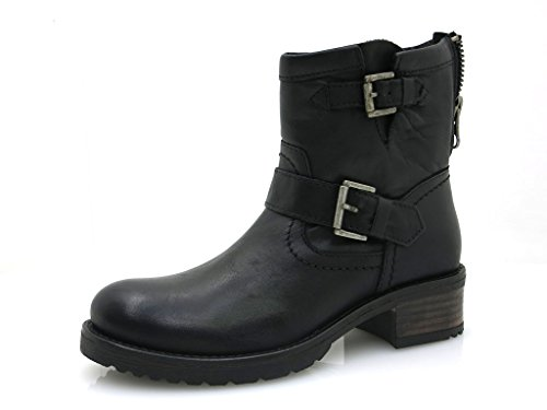 Boots robust Leather Leather 30509 black shoes Buffalo Short Black brandy Boots 7qZSF