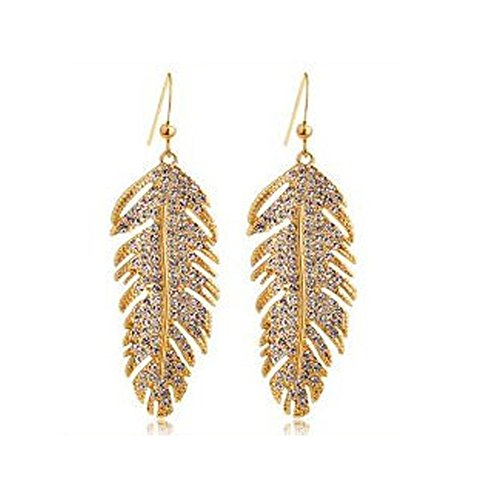 FIFATA Girl Rose Gold Crystal Drop Dangling Feather Love Wing Leaves Earrings for Women - Gold Earrings Leaf