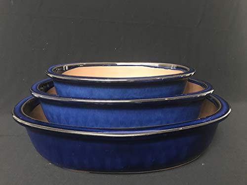(Kotobuki Japanese Glazed Bonsai Oval Pot : 1set/3pcs #34-1)