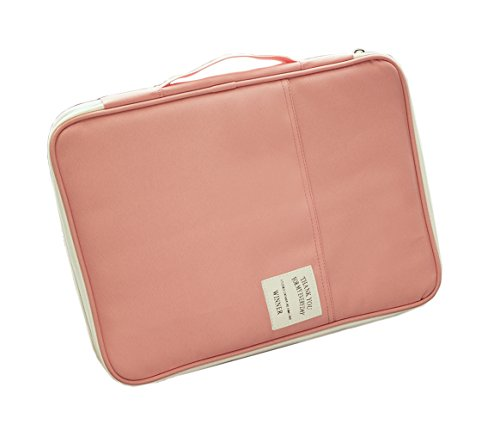 iSuperb A4 Documents Bag Multifunction Files Organizer Messenger iPad Handbag Storage for Travel Office 13.4x9.8x1.4 inch(Watermelon Red)