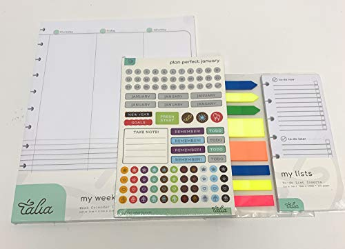 Talia Discbound Notebook Refills (Letter (8.5in x 11in), Weekly Undated ORG Kit)