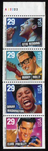 Music Stamp Series - AMERICAN MUSIC ~ ELVIS PRESLEY ~ BUDDY HOLLY ~ DINAH WASHINGTON ~ OTIS REDDING #2737b Booklet Pane of 4 x 29¢ US Postage Stamps