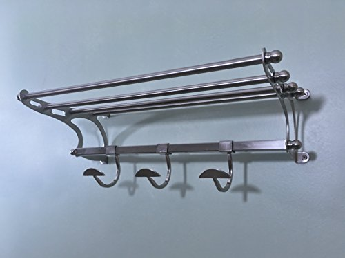 Medium Size Paris Brushed Satin Nickel Towel Rack Hotel Train Rack - Shelf Hooks (Brushed Nickel Towel Racks)