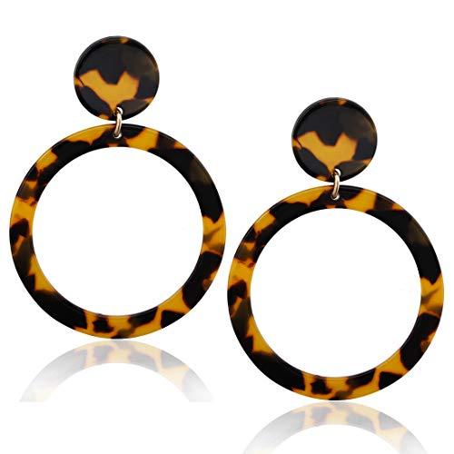 Acrylic Hoop Earrings Mottled Resin Earrings Textured Open Circle Statement Stud Earrings for Women Girls (G Tortoiseshell 1) ()