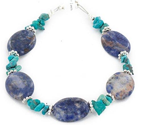 $80 Retail Tag Authentic Silver Navajo Natural Turquoise and Lapis Native American Bracelet (Lapis Turquoise Bracelet)