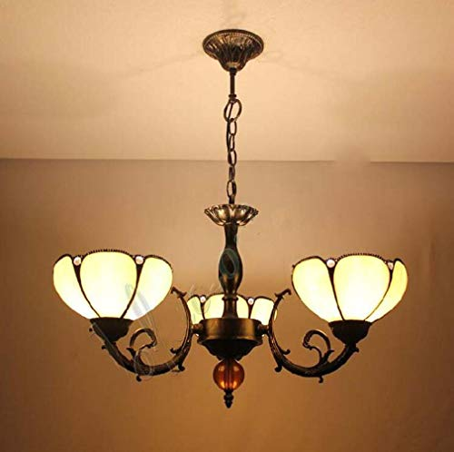 Tiffany Style 3-Arm Stained Glass Shade Chandeliers, Metal Chassis Inverted Ceiling Pendant Light for Restaurant Bar Hanging Lamp, 110-240V/E27/E26×3 ()