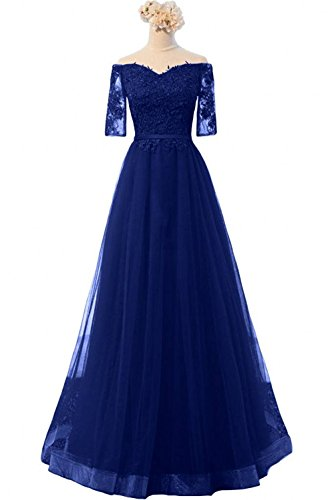mit Abendkleider Linie Langarm Charmant Royal Langes Damen Brautmutterkleider Dunkel Neu Blau A Spitze Partykleider ngg8xBw