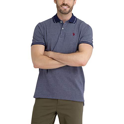 (U.S. Polo Assn. Men's Jacquard Diagonal Stripe Polo Shirt Classic Navy)