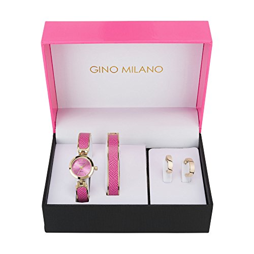 (Ladies Pink Bangle Watch & Matching Bangle Bracelet with Matching Hoop Earrings Gift Set- Pink)
