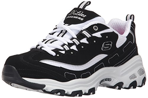 Skechers Sport Women's D'Lites Memory Foam Lace-up Sneaker,Biggest Fan Black/White,6.5 M US