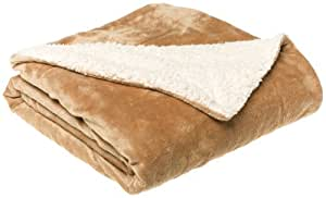LCM Home Fashions Micromink / Sherpa 50-Inch by 60-Inch Throw, Tan