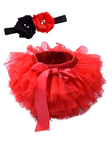 Baby Girls Tutu Bloomers Diaper Cover Cotton Tulle Bloomers and Headband Set Red 0-6 Month