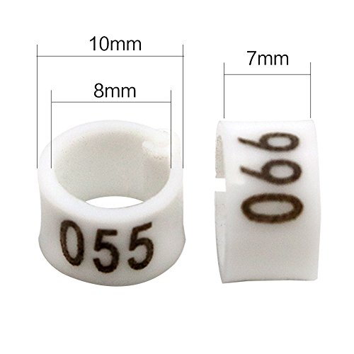 iherdsman 001-100 Multi-color Bird Leg Bands Numbered 8 mm Pigeon Parrot  Chicks Leg Band Duck Clip Rings Bands (White)