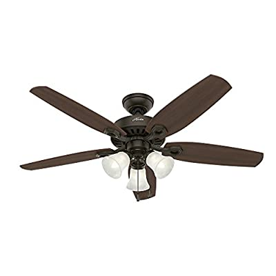 Hunter 53238 Builder Plus 52-Inch Ceiling Fan with Five Harvest Mahogany/Brazilian Cherry Blades and Swirled Marble Glass Light Kit, New Bronze