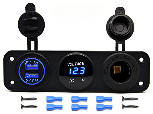 Digital Cell Phone (Cllena Triple Function Dual USB Charger + LED Voltmeter + 12V Outlet Power Socket Panel Jack For Car Boat Marine Digital Devices Mobile Phone Tablet (Blue LED))
