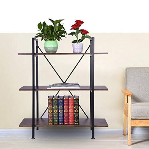 LLJEkieee 3-Tier Industrial Bookcase and Book Shelves Vintage Wood and Metal Bookshelves -Durable MDF and Sturdy Steel Tube Frame 102x90x32cm